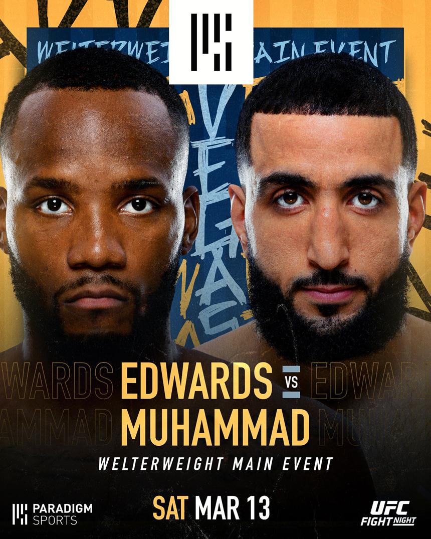 爱德华斯VS穆罕默德次中对决成为3月14日UFC赛事新头条